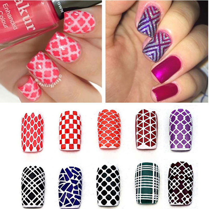 12Tips Sheet DIY Fashion Women Nail Vinyls Art Manicure Stencil Stickers Stamp Template Decals Tool Nice In From Beauty Health On