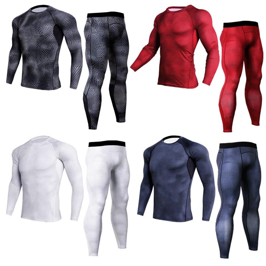 Men's Suits Rashguard MMA Compression Clothing Mens Tracksuit Set Fitness Leggings Men's T-shirts Thermal Underwear Base Layer