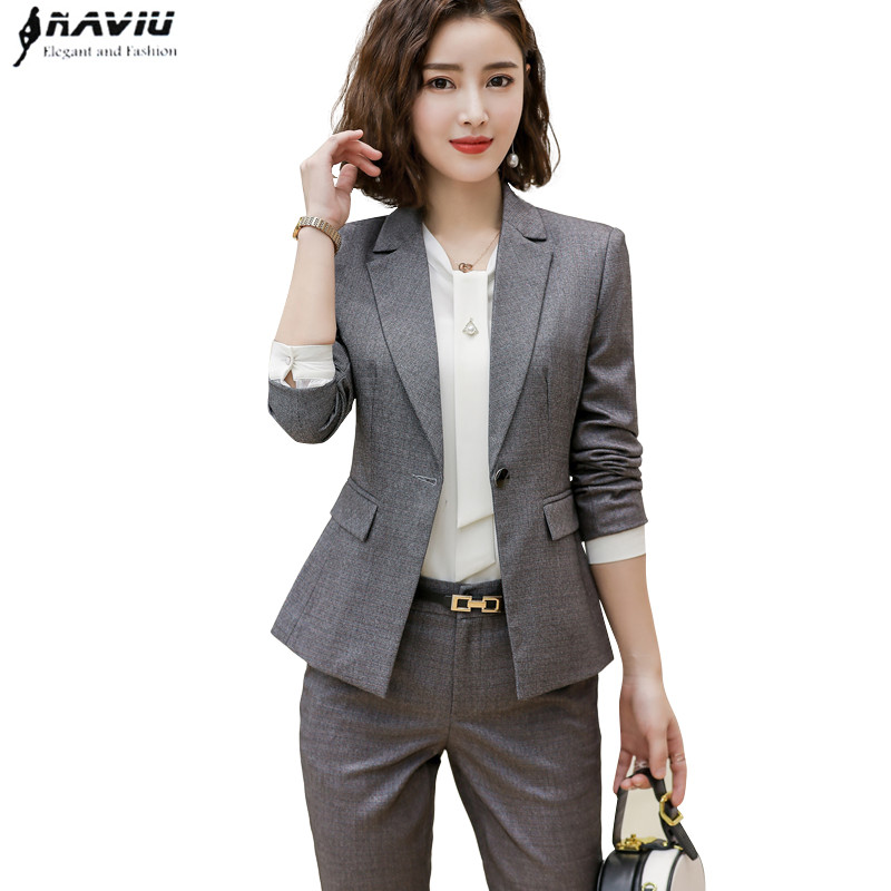 2019 New fashion Slim pants suits set professional Business plus size long sleeve blazer and pants office lady work wear-in Pant Suits from Women's Clothing    1