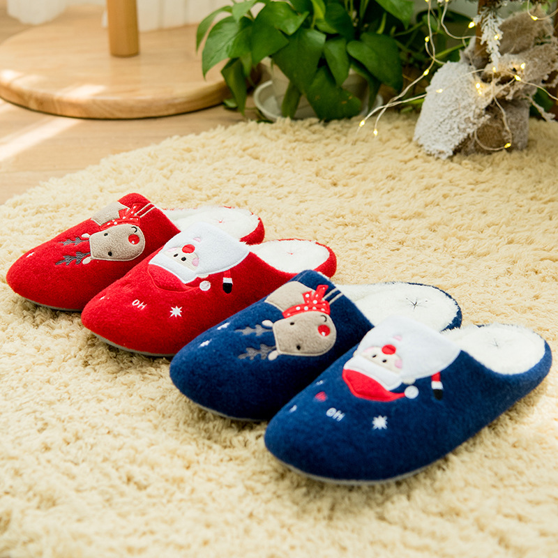 christmas cute home slippers women and men winter kawaii korean lovers skidproof cotton slippers furry soft