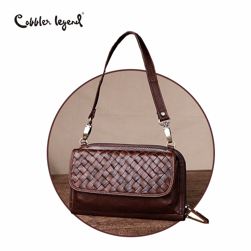 Cobbler Legend Brand Woven Genuine Leather Shoulder Bag Women Knitting Pattern Small Handbag Casual Flap Bag Lady Crossbody knitting designer genuine leather ladies small woven flap purse messenger bag vintage female women s single shoulder sling bag