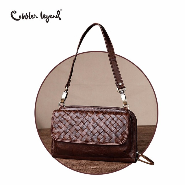 Cobbler Legend Brand Woven Genuine Leather Shoulder Bag Women Knitting  Pattern Small Handbag Casual Flap Bag Lady Crossbody 74ec654b4a