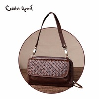 Cobbler Legend Brand Woven Genuine Leather Shoulder Bag Women Knitting Pattern Small Handbag Casual Flap Bag Lady Crossbody