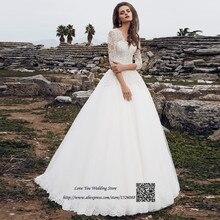 a94e53446e Szata de Mariage 2017 Plaża Suknia Ślubna Z Długim Rękawem Plus Rozmiar Suknie  Ślubne Country Western Koronki Koreański Bride Su.