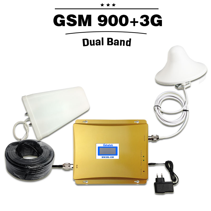 LCD Display GSM 900 Repeater 3G 2100 Cell Phone Signal Booster GSM WCDMA Dual Band Repeater Kit GSM 3G UMTS Cellular Amplifier