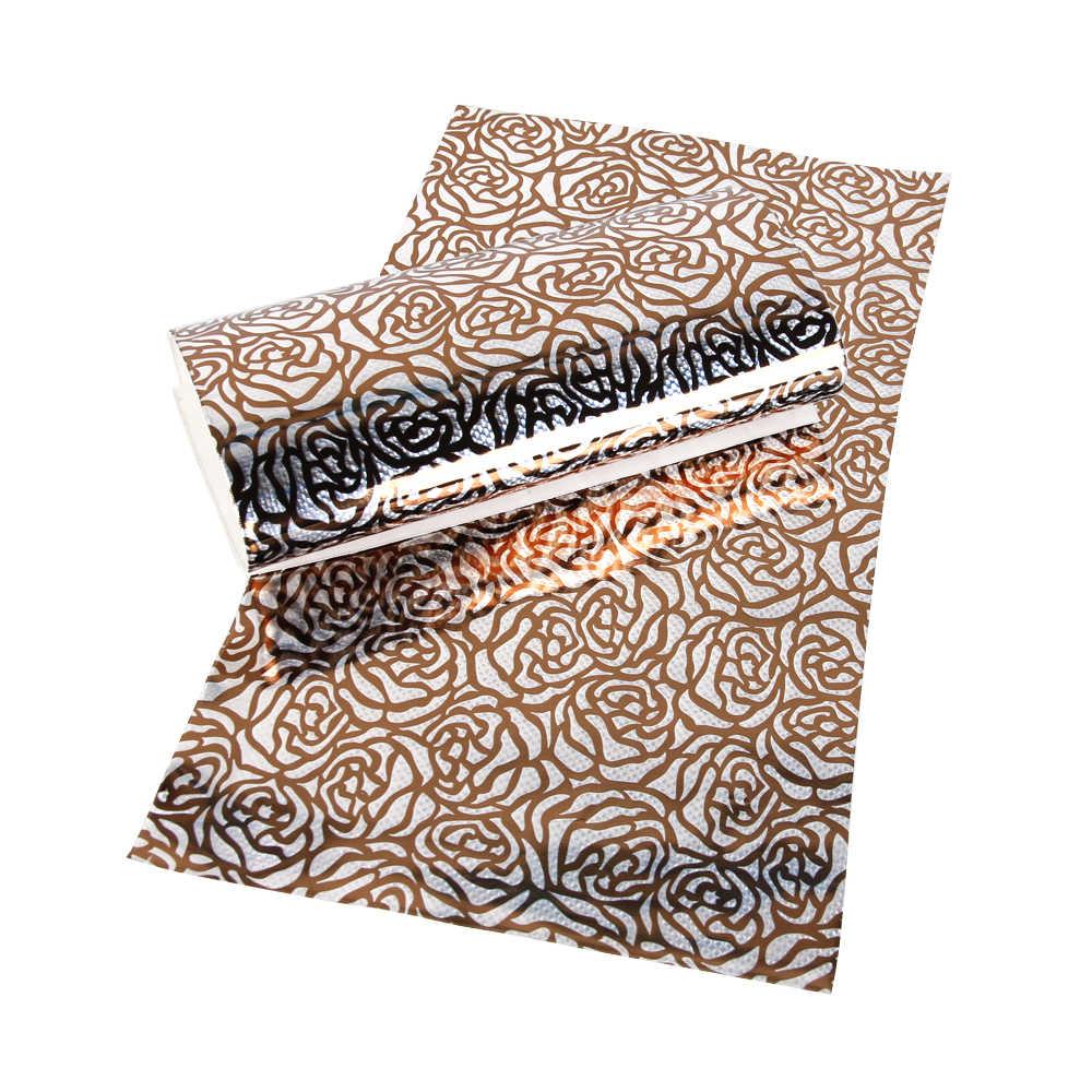 David accesorios 20*34 cm flores láser cuero sintético PU cuero Artificial, tela de costura DIY para bolsos de ropa zapatos, 1Y56778