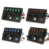 6 Gang 5 Pin 12V 24V LED Rocker Switch Panel Circuit Breaker Charger Dual USB Socket