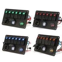 6 Gang 5 Pin 12V 24V LED Rocker Switch Panel Circuit Breaker Charger Dual USB Socket