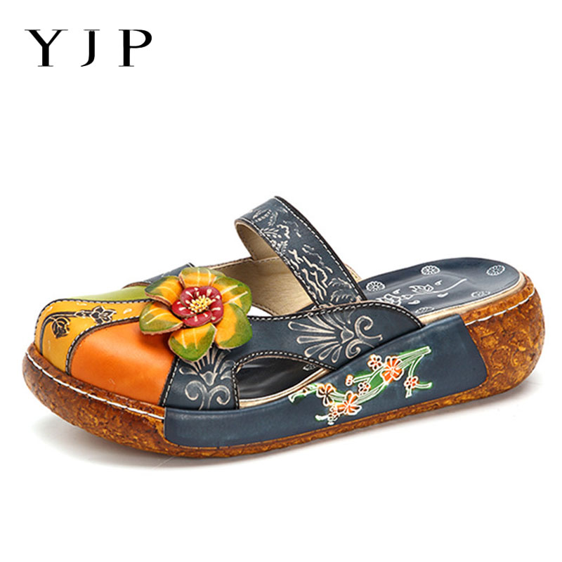 YJP Vintage Handmade Genuine Leather Slippers Women Shoes Spring Summer Outdoor Platform Slippers Beach Slides Flat Ladies Shoes 2016 summer patent leather buckle slides for women fashion stone upper flat platform ladies casual beach slippers sandals shoes