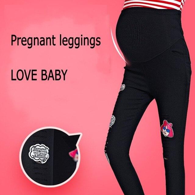 Весна 2017 новая мода отверстие беременных Леггинсы женщин брюки Опоры живот ноги регулируемый тонкий Материнство Брюки