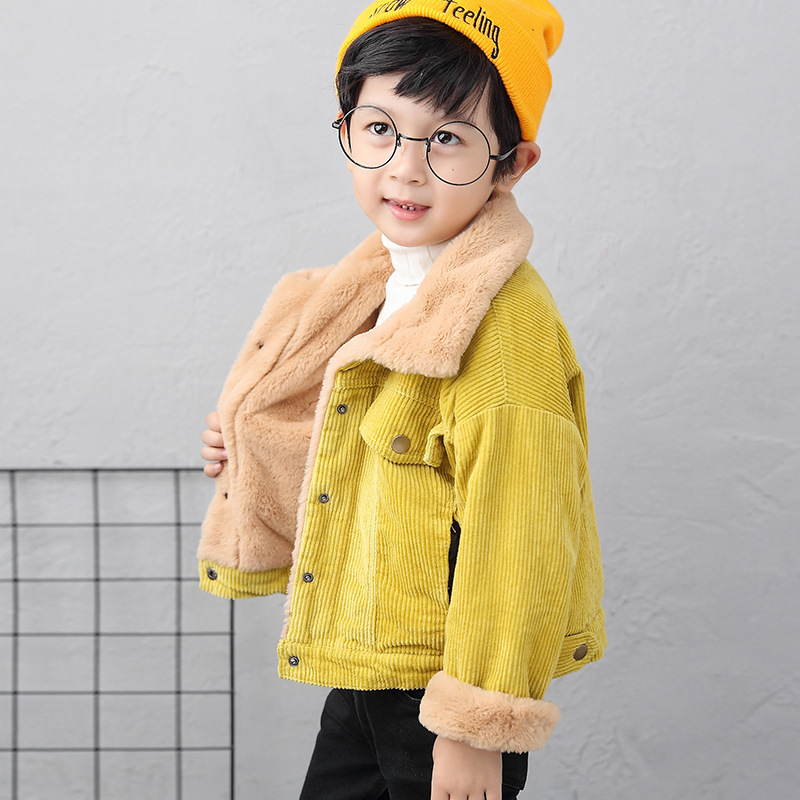 все цены на Travel snail kids wool coats 2017 winter New wool coat for boys kids winter jackets children clothing full solid corduroy онлайн