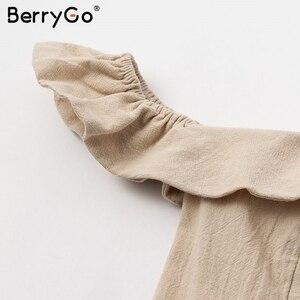 Image 5 - BerryGo Sexy off spalla increspato vestito delle donne button Solid telai vestito da estate Elastica a vita alta delle signore vestito da partito midi dress