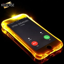 KISSCASE 6s 7 LED Light Call Case For iPhone 6 6S Plus 5 5s SE Cover  Shockproof Anti-knock Silicon Phone Cases Coques Shells