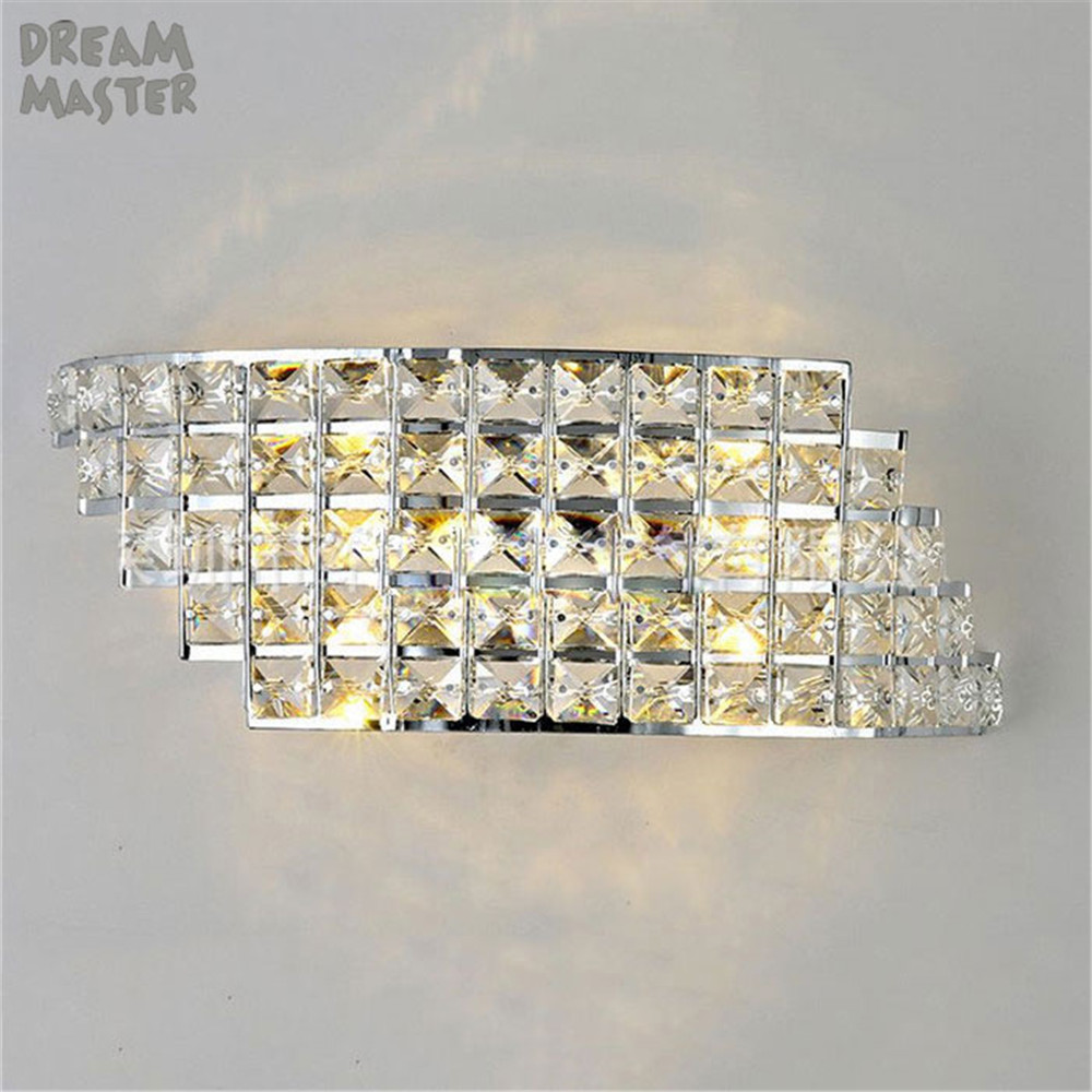 2018 New LED crystal wall lights bedroom bedside wall sconces arandelas abajur para quarto aisle corridor