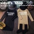 Nueva 2015 otoño invierno moda carta knitting pullover para la muchacha ropa caliente niños de cuello alto suéter juego de vestido 2 ~ 7 age bebé