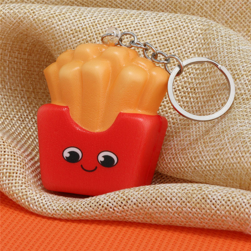 2019 NEW Style Squishies Kawaii Cartoon French Fries Chips Slow Rising Cream Scented Keychain Stress Relief  Antistress Games F1