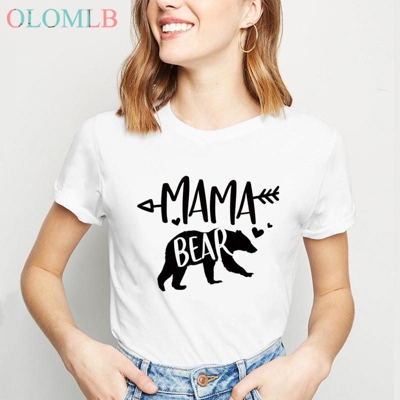Mama Bear T Shirt For Women Summer O-Neck Mom T-Shirt Mom Life Shirt Gift For Mom Casual Female Tee Ladies Tops Fashion T Shirts