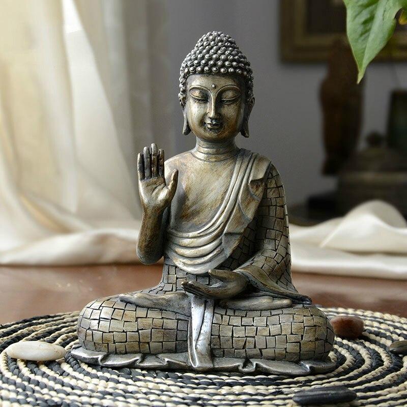 الراتنج تقليد النحاس البوذية بوديساتفا بوذا ساكياموني تمثال الهند نحت على شكل بوذا خمر بوذا رئيس الراتنج كرافت ديكور-في التماثيل والمنحوتات من المنزل والحديقة على  مجموعة 1