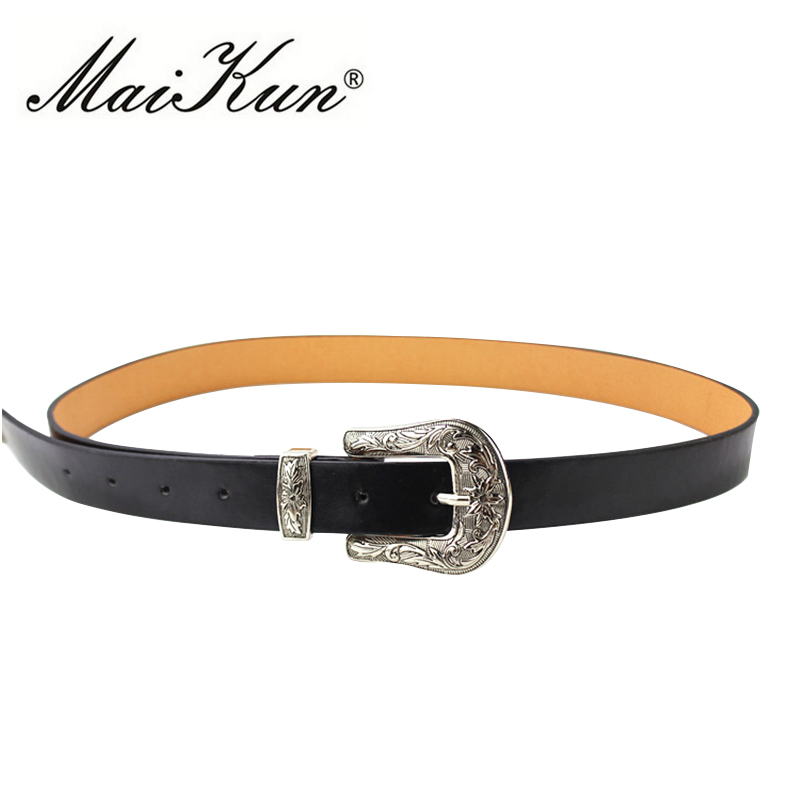 Fashion Cowboy Style Brand Designer   Belts   for Women Vintage Carving Metal Pin Buckle   Belt   for Jeans PU Leather Women Strap