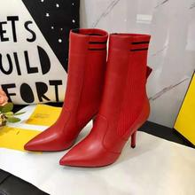 New Design Real Leather Boots Women Thin High Heels Elastic Ankle for Knitted sock Shoes Red Black