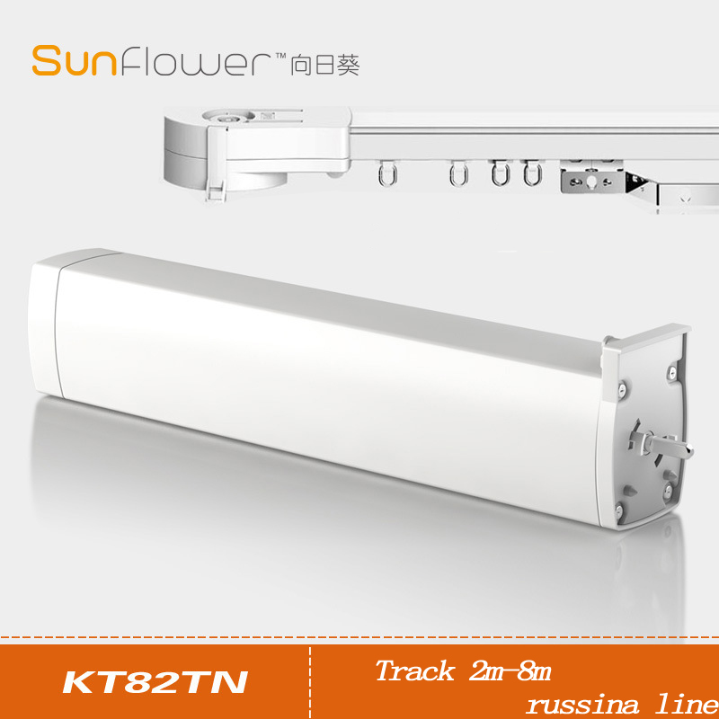 Dooya KT82TN,DC Electric Curtain Motor, Built-in AC 100-240V transformer,  Silence track,Remote Control  for  Russian line