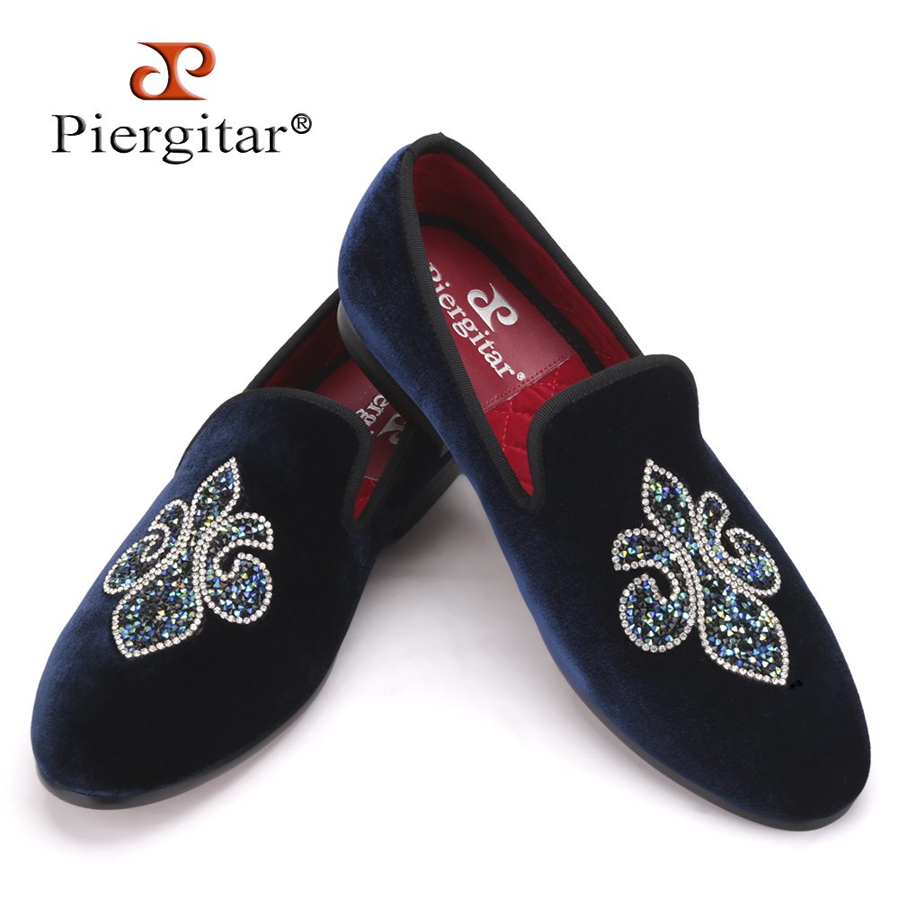 Piergitar 2019 Colorful Crystal Rhinestone Handmade Men Velvet shoes Wedding and Party men loafers plus size