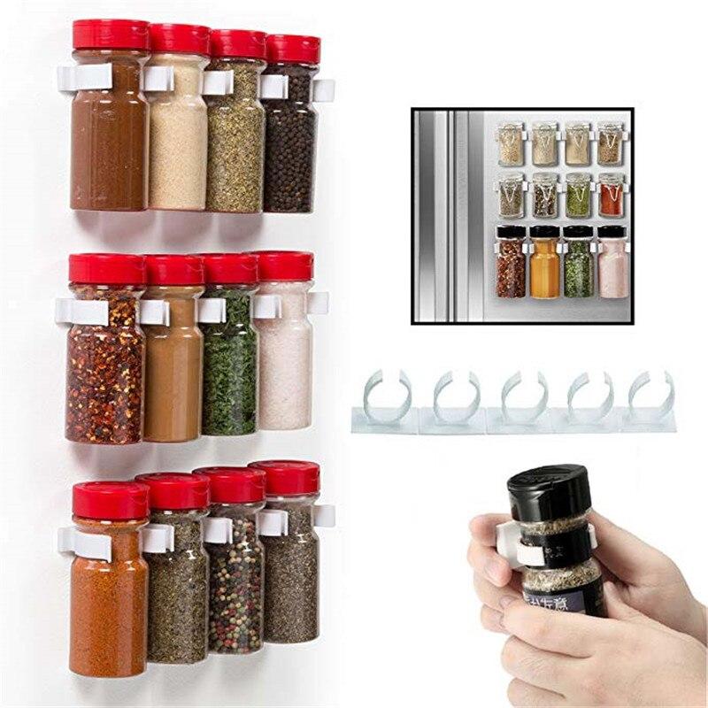 4Pcs/Set Wall Mount Stick Spice Bottle Rack Plastic Clip Organizer Rack Home Kitchen Cabinet Door Hooks Jars Spice Holder Tools Бинокль