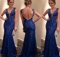 2015 nueva vendimia de la llegada Bodycon mujeres del verano vestido atractivo Backless v-cuello del cordón del vestido de moda vestido largo
