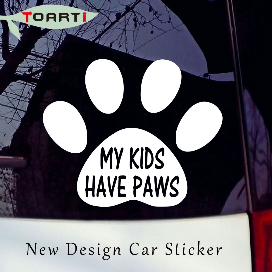 My Kids Have Paws Vinyl Diy Decal Sticker Car Window Wall Bumper Laptop Motorcycle Dog Funny Design Decor Pvc Self Adhesive