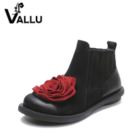 2016 Big Red Flower Women Boots Genuine Leather Round Toes Ankle Boots Flat Heels Handmade Shoes