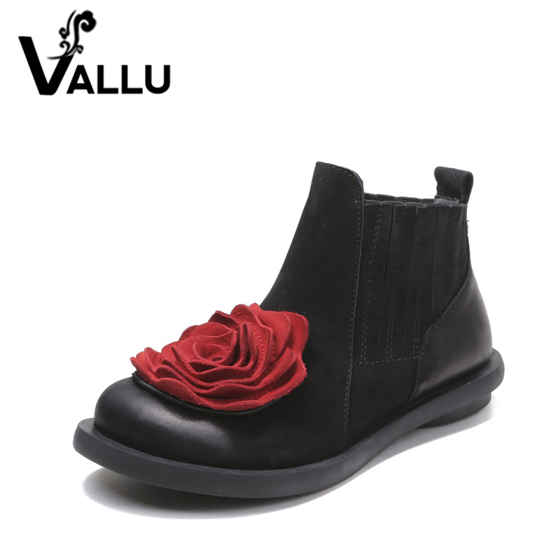 2019 Big Red Flower Women Boots Cow Suede Round Toe Ankle Boots Flat Heels Handmade Shoes Vintage Boots