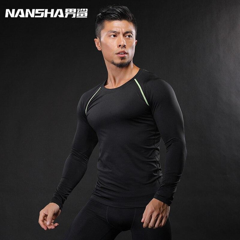 2017 divat férfi fitness póló férfi kompressziós alaprétegek ingek alatt Thermal Top Tees pulóverek NANSHA márka ruházat