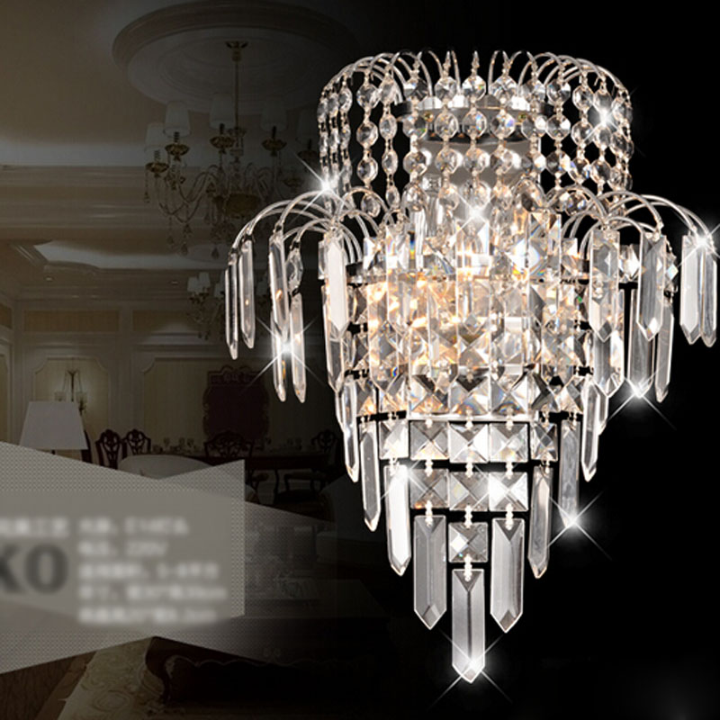 все цены на Crystal wall lamp modern simple living room bedroom bedside lamp aisle corridor stairs hotel project led wall lamps for bedroom