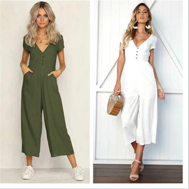 Hot White Wide Leg Loose Jumpsuit