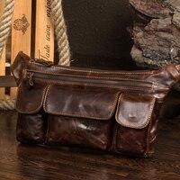 Brand Men Genuine Leather Waist Bag Crazy Horse Travel Fanny Pack Male Belt Loop Hip Bum