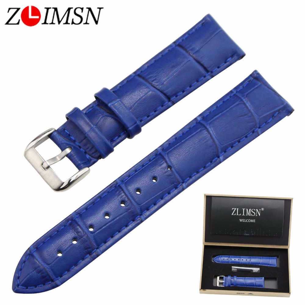 ZLIMSN 12 14 16 18 20mm Italian Genuine Leather Watch Band Gold Black Silver Rose Gold Pin Buckle & Blue Crocodile Grain Strap crocodile crocodile cr225r black gold page 8