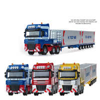 KDW Alloy Diecast Container Low Bed Transporter Truck 1:50 Simulation Sea Port Vehicles Model For Kids Christmas Gift Toys