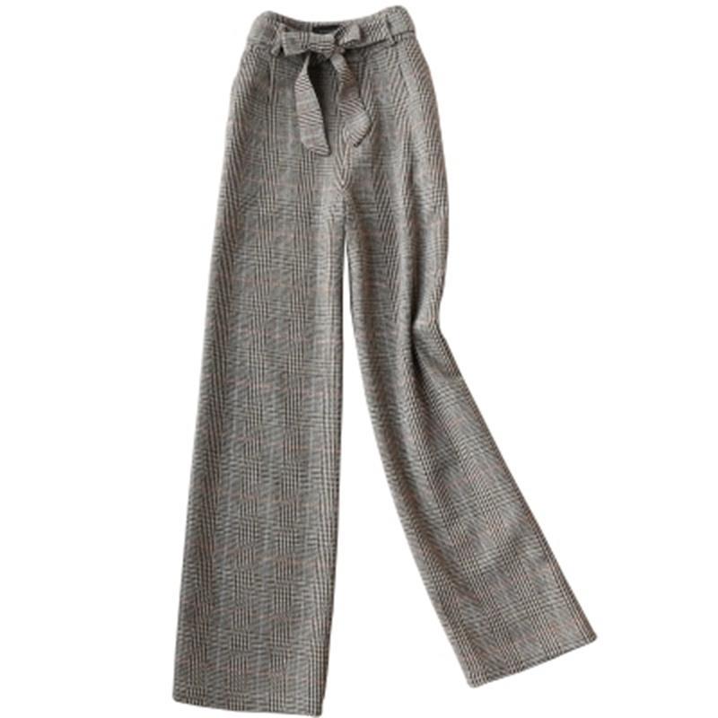 Ancha Nuevo Cintura Otoño Moda De Lana Pierna Mujeres Pantalones Alta Casuales Cuadros Las Mujer 1 A Primavera Y Temperamento Largos Xvzv7