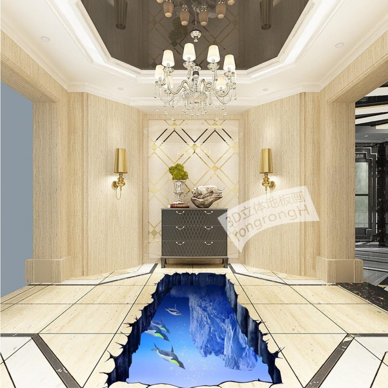 ФОТО Free Shipping Glacier Penguin Bathroom 3D Floor self-adhesive thickened bathroom office bedroom living room study flooring mural