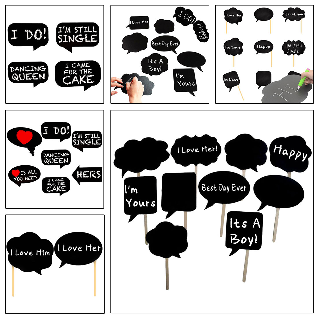 Aliexpress Decoration Mariage Black Cards 43 Sticks 43glue Mr Mrs Photo Booth Props