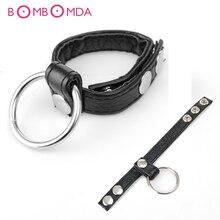 Регулируемый кожаный петух кольцо, кольцо для пениса черные ремни Мошонка Связывание Мужской Целомудрие устройство прочного продукта секс-игрушки для мужчин