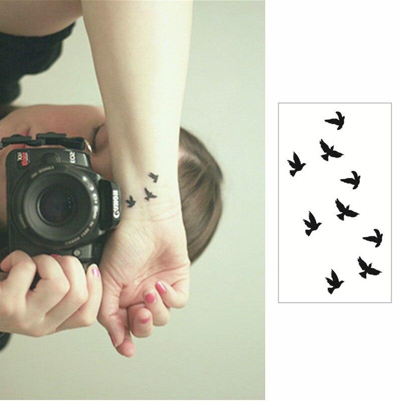 Tatuaje M ✅m-teoría pequeña golondrina flash tatuaje mano pegatina 10.5*6 cm