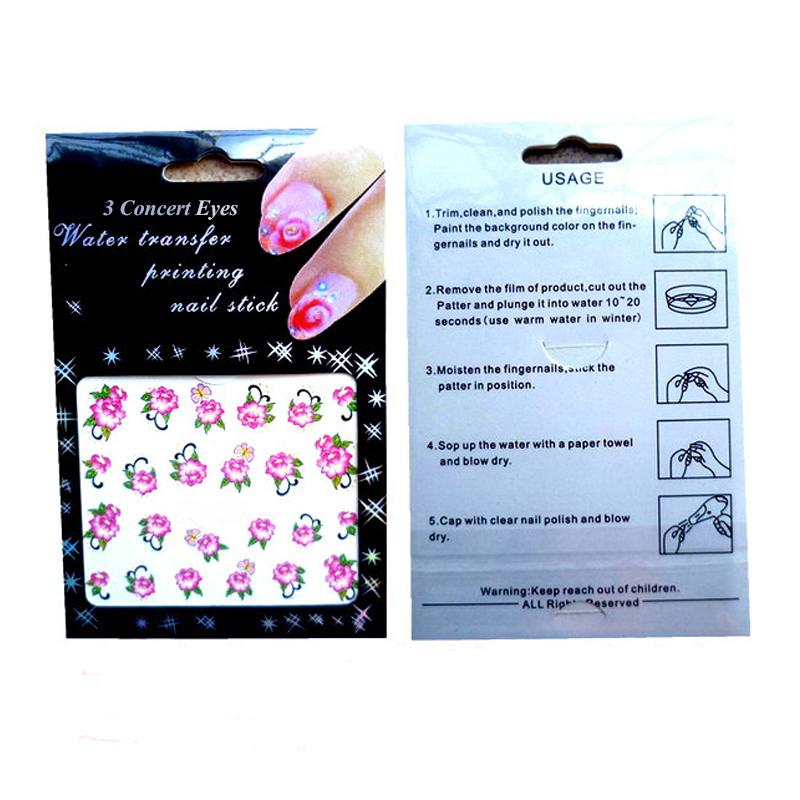 12 шт. красота слаще ткань Slider для ногти 3 концерт глаза pros воды дизайн ногтей наклейки наклейки красочные этикета bn517-528