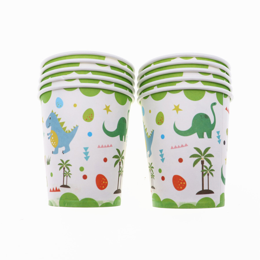 10pcs/lot  Dinosaur 7inch Disposable tableware paper Cup Cartoon Kid baby shower Birthday Party  decoration supplies for home