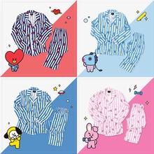 BTS Kpop Bangtan Boys V J-HOPE RM The Same Korean Style Cute BT21 Cartoon Pajamas Suit ARMY Long Sleeve Shirts Fashion Bedgown