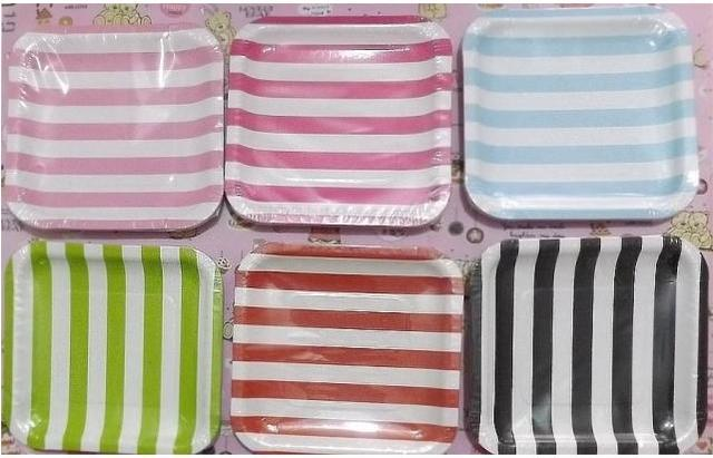 7 inch Disposable Party Tableware Striped Square Party Paper Plates Christmas Wedding Eco-friendly Ice & 7 inch Disposable Party Tableware Striped Square Party Paper Plates ...