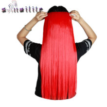 S-noilite Long 26 inches Straight 68CM 100% Real Thick 150g 3/4 Full Head Clip in Hair Extensions Synthetic for human(China)