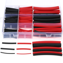 270pcs Dual Wall Adhesive Heat Shrink Tubing Kit 3:1 Heat-shrinkable Tube Cable Sleeve Assortment 6 Sizes Black Red
