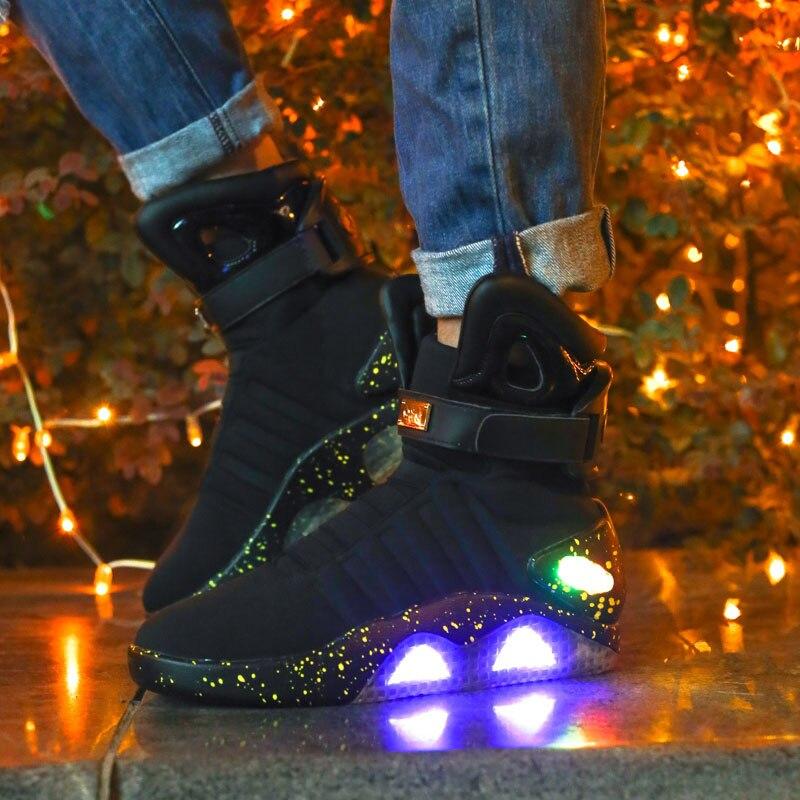 แฟชั่นผู้ชายรองเท้า Led รองเท้าผ้าใบแสงรองเท้าผู้ชายใหม่รองเท้า illuminated Shining Luminous Warm รองเท้าผ้าใบ ligh-ใน รองเท้าบูทแบบเบสิก จาก รองเท้า บน   2