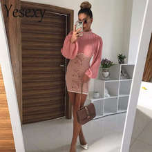 Yesexy 2019 Sexy Long Sleeve Fold High-necked Eyelet dress Solid Color Elegant Bodycon Mini Dresses VR4751